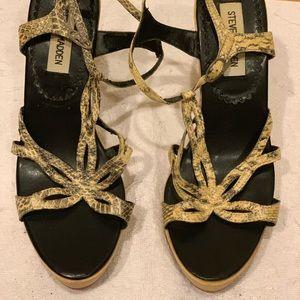 Steve Madden snake wooden heel sandals